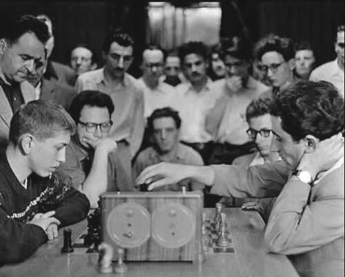 """Library (called """"The grandmasters' room"""" in the Soviet times ). The 11th World Champion Robert Fischer is playing blitz games against the 9th World Champion Tigran Petrosian, 1958"""