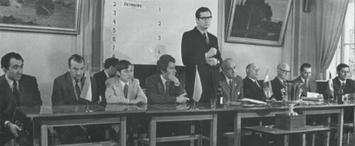 The ceremonial meeting in honour of the USSR national team's victory at the European Championship. Speaking is the Chairman of the USSR Chess Federation Yuri Averbakh, 1973
