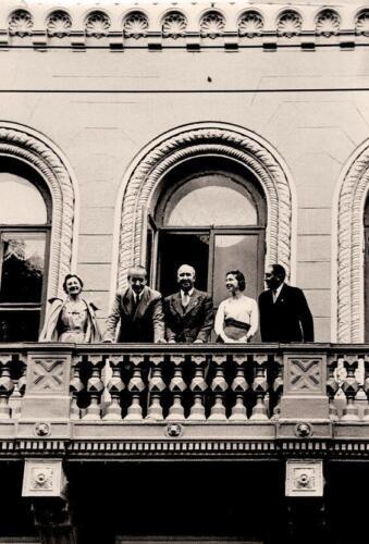 The FIDE directory on the balcony of the Central Chess Club: President Folke Rogard, Vice-Presidents Viacheslav Ragozin, and Marcel Berman, 1956