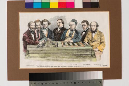 Некоронованный чемпион мира Говард Стаунтон (третий справа) в окружении ведущих шахматистов середины XIX века. Лондон, 1855