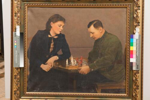 П. Цепалин. Шахматный коллекционер В. Домбровский с супругой. Ленинград, середина 1950-х