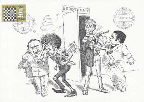 Х. Петруссон. Карикатура из серии «Матч Спасский–Фишер». Рейкьявик, 1972
