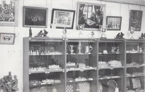 Зал славы: Экспозиция в старом помещении Музея шахмат. 1980-е.